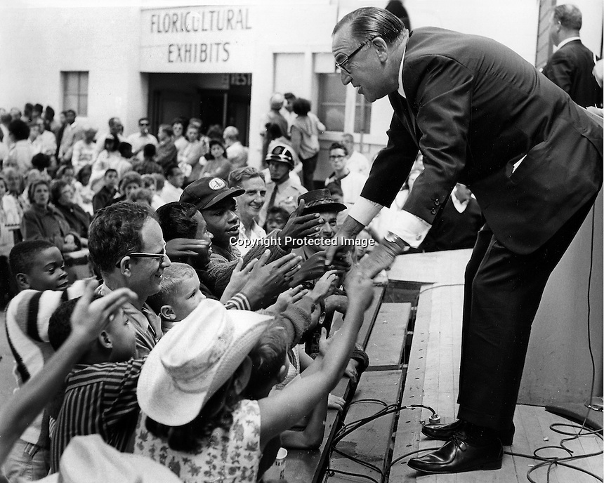 """California Governor Edmund G.""""Pat"""" Brown shaking han ds at Labor Day 1965 (photo by Ron Riesterer)"""