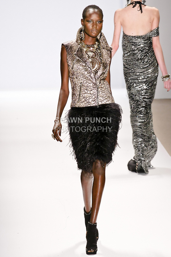 Ajak Deng walks the runway in a Naeem Khan Fall 2010 outfit, during Mercedes-Benz Fashion Week Fall 2010.