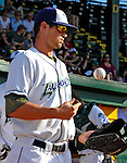 2 July 2011: Vermont Lake Monsters outfielder Jordan Tripp is ready for the start of play against the Tri-City ValleyCats at Centennial Field in Burlington, Vermont. The Lake Monsters rallied from a 4-2 deficit to defeat the ValletCats 7-4 in NY Penn League action. Mandatory Credit: Ed Wolfstein Photo