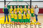 Gneeveguilla  at the U18 Girls Basketball Final Gneeveguilla v St Josephs at Moyderwell Mercy Gym on Sunday. Pictured front l-r Leah O'Connor,  Fiona O Reilly, Alisha Copeland, Rachel Fitzgerald, Aine O'Brien, Back l-r John Hurley, Coach, Katie Horgan, Brid O'Connor, Brenda Murphy, Alannah O Sullivan, Ava Murphy, Maureen O'Connor, Sinéad Warren, Mary Cremin, Asst. Coach