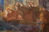 Mural, with nuns mourning the death of a saint, on the wall of the Cloister, built in late Romanesque style by Mihoje Brajkov of Bar in 1360, in the Franciscan monastery on Stradun or Placa, Old Town, Dubrovnik, Croatia. The city developed as an important port in the 15th and 16th centuries and has had a multicultural history, allied to the Romans, Ostrogoths, Byzantines, Ancona, Hungary and the Ottomans. In 1979 the city was listed as a UNESCO World Heritage Site. Picture by Manuel Cohen