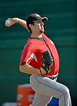 19 July 2012: Tri-City ValleyCats pitcher Joe Bircher warms up prior to a game against the Vermont Lake Monsters at Centennial Field in Burlington, Vermont. The ValleyCats defeated the Lake Monsters 6-3 in NY Penn League action. Mandatory Credit: Ed Wolfstein Photo