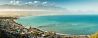 Kaikoura town with Seaward Kaikouras mountains in background, Marlborough Region, South Island, East Coast, New Zealand, NZ