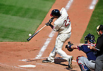 6 September 2009: Cleveland Indians' outfielder Michael Brantley connects against the Minnesota Twins at Progressive Field in Cleveland, Ohio. The Indians defeated the Twins 3-1 to take the rubber match of their three-game weekend series. Mandatory Credit: Ed Wolfstein Photo