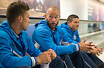 FC Luzern v St Johnstone...16.07.14  Europa League 2nd Round Qualifier<br /> Alan Mannus pictured at Edinburgh Airport this morning waiting for the flight to Basel. He is pictured alongside Alex Kitchen and Stevie Banks<br /> Picture by Graeme Hart.<br /> Copyright Perthshire Picture Agency<br /> Tel: 01738 623350  Mobile: 07990 594431