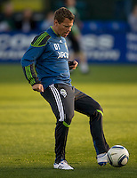 Sounders' fitness coach David Tenney is pictured during practice before the game against the Earthquakes at Buck Shaw Stadium in Santa Clara, California on April 2nd, 2011.   San Jose Earthquakes and Seattle Sounders are tied 2-2.