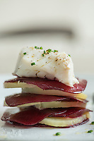 Layered beetroot and potato with steamed black cod