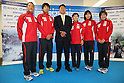 (L to R) Hirokatsu Tayama (JPN), Yuichi Hosoda (JPN),  Kenjiro Iijima (JPN), Ai Ueda (JPN), Mariko Adachi (JPN), Juri Ide (JPN), June, 2012 - Triathlon : Japanese Triathlon  team member ateend press conference about the London 2012 Summer Olympic Games in Tokyo, Japan. (Photo by Yusuke Nakanishi/AFLO SPORT) [1090]