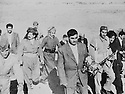 Iraq Kurdistan 1958.Suleimania: General Barzani, coming back from Soviet Union, visits with Sheikh Latif  the martyrs'graveyard  .Irak 1958.Mustafa Barzani rentrant d'URSS se rend sur les tombes des martyrs a Suleimania accompagne de Sheikh Latif
