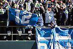 Seattle Seahawks fans braved temperatures in the mid-20's to greet the team after the club's 43-8 victory over the Denver Broncos in Super Bowl XLVIII at a brief championship celebration at  CenturyLink Field with Seahawks players, coaches, and staff on February 5, 2014 in Seattle. ©2014. Jim Bryant photo.  ALL RIGHTS RESERVED.