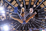 11 November 2013: A UNC cheerleader is thrown in the air. The University of North Carolina Tar Heels played the University of Tennessee Lady Vols in an NCAA Division I women's basketball game at Carmichael Arena in Chapel Hill, North Carolina. Tennessee won the game 81-65.