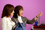 SPECIAL TO THE PALM BEACH POST---Adrienne Arpel, right, demonstrates her product for the cameras withh HSN host Bobbi Ray Carter, left, during a live show for Arpel's Signature A cosmetics on Friday, March 18, 2005 in St. Petersburg, Fla. (AP Photo/Scott Audette)