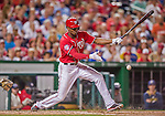 22 August 2015: Washington Nationals outfielder Michael Taylor fouls one off in the 6th inning against the Milwaukee Brewers at Nationals Park in Washington, DC. The Nationals defeated the Brewers 6-1 in the second game of their 3-game weekend series. Mandatory Credit: Ed Wolfstein Photo *** RAW (NEF) Image File Available ***