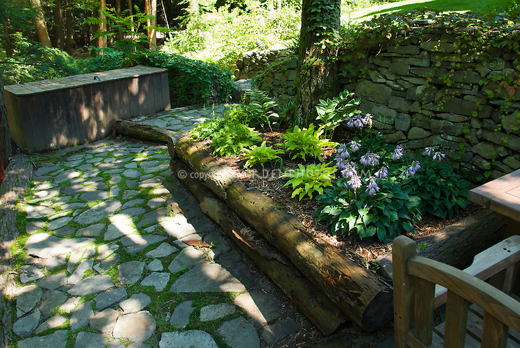 Raised garden bed in shade under trees with stone patio and walls, Hosta Sun Power and another miniature hosta in bloom, use of natural materials, with garden furniture chair and table, dappled sun and shade light