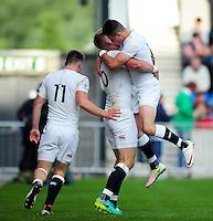 Harry Mallinder of England U20 celebrates his try with team-mates. World Rugby U20 Championship Final between England U20 and Ireland U20 on June 25, 2016 at the AJ Bell Stadium in Manchester, England. Photo by: Patrick Khachfe / Onside Images