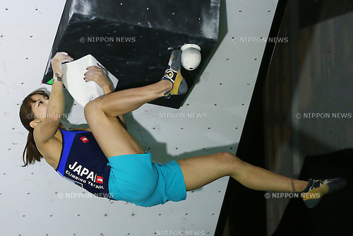 Akiyo Noguchi (JPN), <br /> APRIL 23, 2016 - Sports Climbing : <br /> IFSC Climbing World Cup - Bouldering Kazo 2016 <br /> Women's Qualification <br /> at Kazo Civic Gymnasium, Saitama, Japan. <br /> (Photo by Shingo Ito/AFLO SPORT)