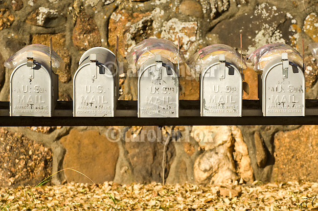 Row of five silver metal mail boxes with phone books in a Mother Lode town in Calif.
