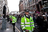 Police officer - 2011<br /> <br /> London, 22/10/2011. The Day at Occupy LSX started with a public meeting held by national and international speakers. Amongst others were Rev Paul Nicolson (Founder and chairman of Zacchaeus 2000 Trust), Laura Martin (Spanish activist, member of 15M movement), Selma James (co-author of the women's movement classic The Power of Women and the Subversion of the Community, founder of the International Wages for Housework Campaign and coordinator of the Global Women's Strike), Ishmahil Blagrove Jr (Senior Producer/Director and founder of Rice N Peas Films) In the last few days the camp has grown and now looks like a small tent-town, complete with University tent. The kitchen now counts two big tents. The protesters have a hairdresser, a meditation and pray tent and solar panels. In the afternoon a march started from St Paul's which ended in Finsbury Square (London Borough of Islington) where the protesters settled their second camp.