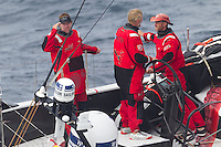NEW ZEALAND, Tom Bowling Bay. 10th March 2012. Volvo Ocean Race Leg 4. PUMA Ocean Racing by BERG. Ken Read, Skipper, salutes the helicopter.