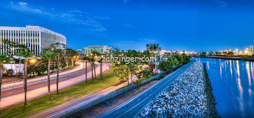 Long Beach; CA; City; Cityscape; Skyline; Sunset; Dusk; Architectural; Glass; Office Buildings; Building; Southern California; USA