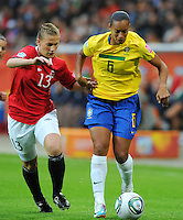 Rosana (r) of team Brazil and Madeleine Giske of team Norway during the FIFA Women's World Cup at the FIFA Stadium in Wolfsburg, Germany on July 3rd, 2011.