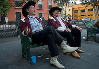 "Ramon Cuevas and his Norteño band ""Los Diferentes"" wait for night to arrive in  Plaza Garibaldi where Mariachis gather to be hired in Mexico City, Friday, Jan. 4, 2008"