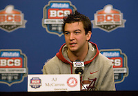 Alabama quarterback AJ McCarron talks with the reporters during the Alabama Offensive Press Conference at Marriott Hotel at the Convention Center on January 5th, 2011.
