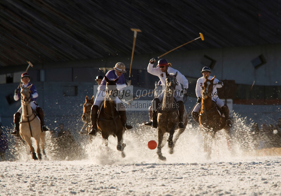 Europe/France/Rhone-Alpes/74/Haute-Savoie/Megève: Match de Polo sur neige lors du Megève Polo Masters