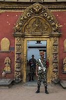 Nepal, Bhaktapur. Earthquake damage 2015, Guard at the museum.