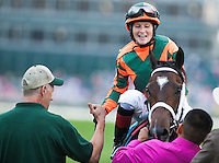 Believe You Can , ridden by Rosie Napravnik and trained by Larry Jones, during the 138th Kentucky Oaks at Churchill Downs in Louisville, Kentucky on May 4, 2012.