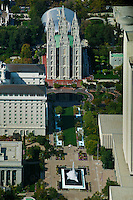 aerial photograph Salt Lake Temple,  Salt Lake City, Utah