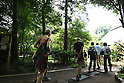 July 20, 2010 - Niiza, Japan - Foreign tourists enters Heirin-ji, a Rinzai temple of the Myoshin-ji branch located in Niiza city, Saitama prefecture, Japan, on July 20, 2010. The visit is part of the 'True Japan Saitama - Zen Medidation and Buddhist Vegetarian Cuisine' tour, organized by the travel agency JTB for leisure travelers.