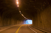 Tunnel through the Chugach mountains on the road from Portage to Whittier, Alaska.