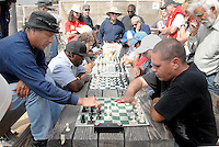 Competitors battle it out during Santa Monica Bay Chess Club's  2011 Beach Blitz Chess Tournament at the Santa Monica Chess Park on Sunday, July 24, 2011.