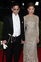 """NEW YORK CITY, NY, USA - MAY 05: Johnny Depp, Amber Heard at the """"Charles James: Beyond Fashion"""" Costume Institute Gala held at the Metropolitan Museum of Art on May 5, 2014 in New York City, New York, United States. (Photo by Xavier Collin/Celebrity Monitor)"""
