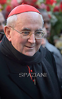 Cardinal Agostino Vallini,Pope Francis prayer ceremony during the traditionnal visit to the statue of Mary on the day of the celebration of the Immaculate Conception et Piazza di Spagna (Spanish Square).December 8, 2014.