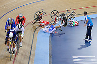 Picture by Charlie Forgham-Bailey/SWpix.com - 05/03/2016 - Cycling - 2016 UCI Track Cycling World Championships, Day 4 - Lee Valley VeloPark, London, England - PARK Sang-Hoon of Korea - LEUNG Chun Wing of Hong Kong - SUTER Gael of Switzerland get caught up in a big crash