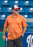 22 February 2013: Washington Nationals' General Manager Mike Rizzo watches batting practice during a full squad Spring Training workout at Space Coast Stadium in Viera, Florida. Mandatory Credit: Ed Wolfstein Photo *** RAW File Available ***