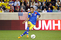 Michael Arroyo (7) of Ecuador. The men's national team of the United States (USA) was defeated by Ecuador (ECU) 1-0 during an international friendly at Red Bull Arena in Harrison, NJ, on October 11, 2011.