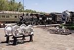 Locomotives at the Museo Nacional de los Ferrocarriles Mexicanos or National Railway Museum in the city of Puebla, Mexico