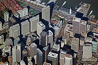 aerial photograph Embarcadero Center, Market Street Spear Street towers, other skyscrapers San Francisco