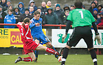 Brechin v St Johnstone....12.03.11  Scottish Cup Quarter Final.Murray Davdison is blocked by Andrew Cook.Picture by Graeme Hart..Copyright Perthshire Picture Agency.Tel: 01738 623350  Mobile: 07990 594431