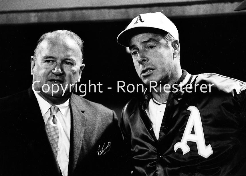 Joe Cronin with A's coach Joe Dimaggio.(1968 photo by Ron Riesterer)