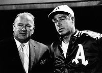 Joe Cronin with A's coach Joe Dimaggio.(1968 photo by Ron Riesterer)