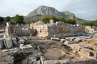 CORINTH, GREECE - APRIL 16 : A general view of the Bema, on April 16, 2007 in Corinth, Greece. The Bema, a platform in the Agora, or main square is seen here in the early morning light with the mountains behind the ruins. Saint Paul was judged here when the Jews accused him of sacrilege in 51 AD. Corinth, founded in Neolithic times, was a major Ancient Greek city, until it was razed by the Romans in 146 BC. Rebuilt a century later it was destroyed by an earthquake in Byzantine times. (Photo by Manuel Cohen)