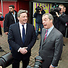 UKIP <br /> Nigel Farage makes his first speech of the GE2015 at Movie Star Cinema, Canvey Island, Great Britain <br /> 12th February 2015 <br /> <br /> Nigel Farage greeted by Jamie Huntman the UKIP candidate in Castle Point <br /> <br /> <br /> Photograph by Elliott Franks <br /> Image licensed to Elliott Franks Photography Services