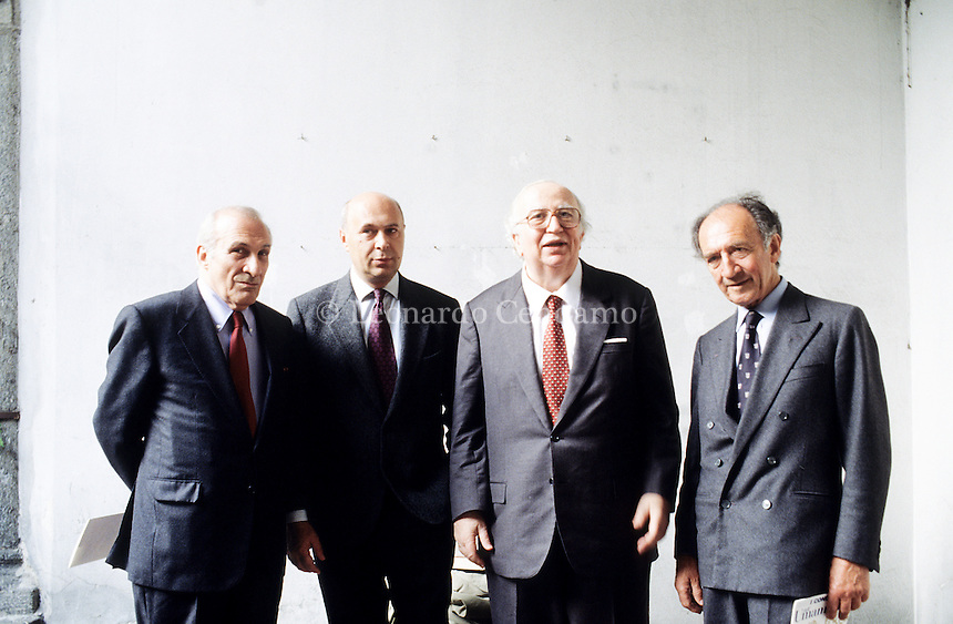 Alberto Cavallaro, Paolo Mieli, Giovanni Spadolini, Piero Ottone, Direttori del Corriere della Sera. Milan, april 1994. © Leonardo Cendamo