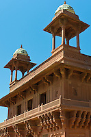 Fatehpur Sikri, the Diwan-i-Khas Hall of Private Audience in 16th Century city of the Mughals, at Agra, Northern India