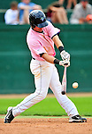 "18 July 2010: Vermont Lake Monsters infielder Jason Martinson in action against the Staten Island Yankees at Centennial Field in Burlington, Vermont. The Lake Monsters, dressed in their Breast Cancer Awareness ""Pinks"", fell to the Yankees 9-5 in NY Penn League action. Mandatory Credit: Ed Wolfstein Photo"