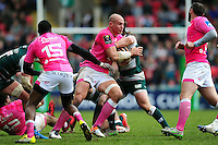 Sergio Parisse of Stade Francais takes on the Leicester Tigers defence. European Rugby Champions Cup quarter final, between Leicester Tigers and Stade Francais on April 10, 2016 at Welford Road in Leicester, England. Photo by: Patrick Khachfe / JMP